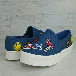 Blue Denim Sneakers Embroidered Applique Size 8
